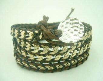 Chain wrapped row bracelet