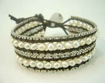 Box silver chain freshwater pearl wrap leather bracelet.
