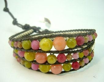 Sweet color wrap leather bracelet