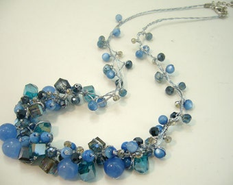 Dark blue crystal hand knotted silk necklace