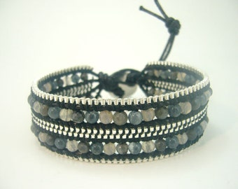 Agate,moonstone,crystal,silver chain box wrapped leather bracelet.