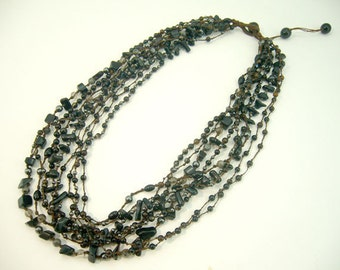 black agat,onyx,hematite hand-knotted wax cotton cord necklace.