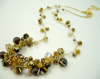 Mix brown tiger eye,crystal hand-knotted on silk thread necklace.