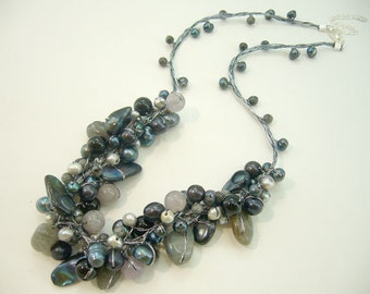 Black agate,smoky quartz,onyx hand knotted on silk thread necklace.