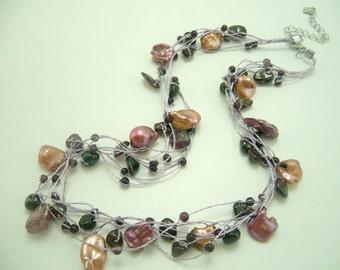 Purple freshwater pearl,garnet,jasper on silk necklace.