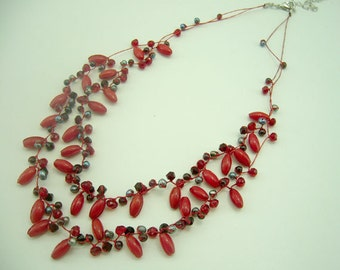 Red coral,crystal hand knotted silk thread necklace.