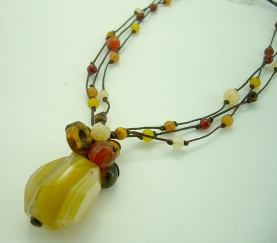 Carnelian,tiger eye with wax cotton necklace