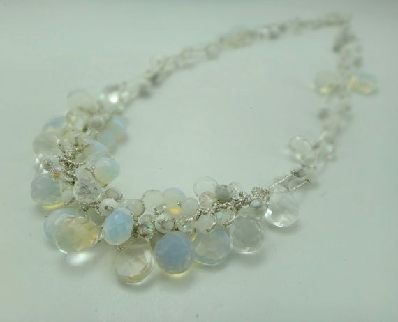 Bridal whit moon stone,crystal hand-knotted on silk thread necklace