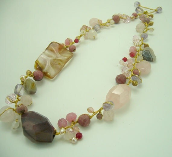 Cherry quartz necklace on silk thread