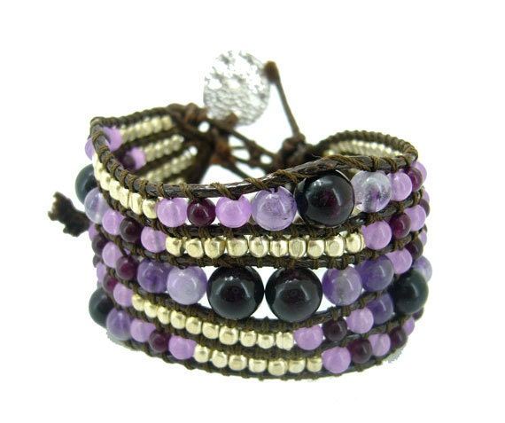 purple agate,silver plated charm bracelet