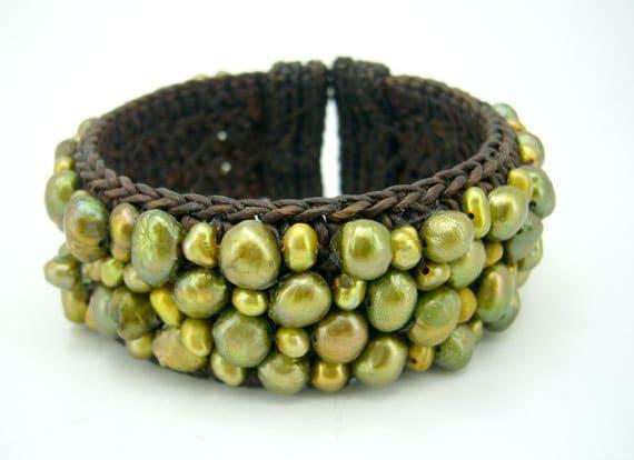 Green freshwater pearl bangle