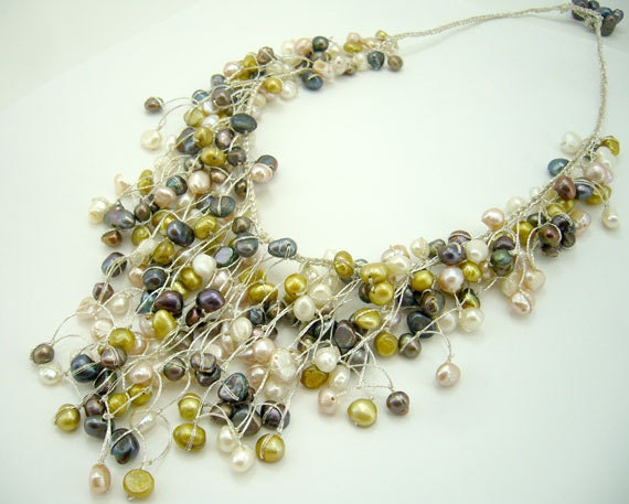 Multi color freshwater pearl hand knotted on silk thread necklace