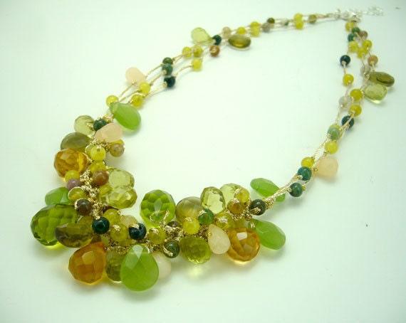 Green peridot necklace