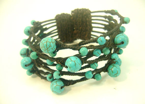 Blue turquoise wrapped wax cotton bangle.