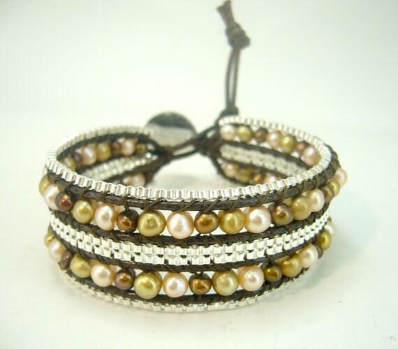 Brown freshwater pearl wrap thread leather bracelet.