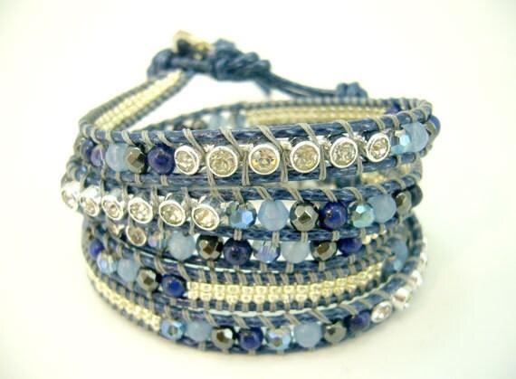 Lapis,hematite,crystal,cz wrapped leather bracelet.