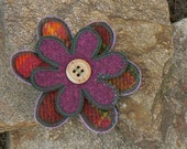 Tartan / Harris tweed fabric flower brooch pin.