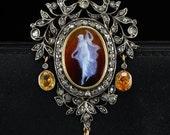Superb Georgian cameo diamond brooch/pendant