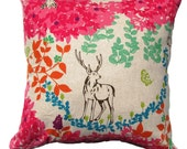 Pink Japanese Pillow Cover Decorative Pillow-Deer in Forest, Floral  Echino Fabrics -Modern Decorative Pillow -16 x16