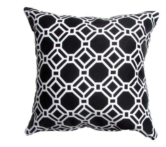 Modern Pillow Covers Etsy : Items similar to Black and White Pillow Cover Modern Pillow Cover Black/White Geometric Shapes ...