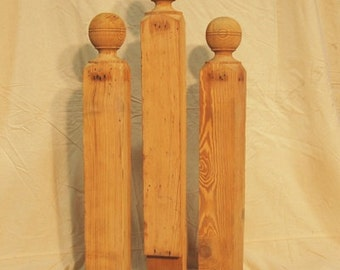 Newel Post Heart Pine Cannon Ball Style