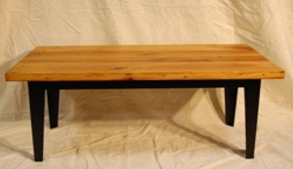 Coffee Table Industrial Style Reclaimed Pine Top Steel Base Modern