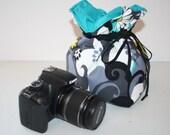 Slr Camera Bag Camera Coozy w Drawstring  Dslr camera Bag insert for purse Charcoal Daisies Small Size
