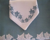 Ivy Border Tablecloth and Four Matching Napkins - BlueGreen, white and gray in color