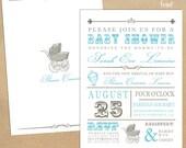 Typeface designer template Baby Shower Card - Boys