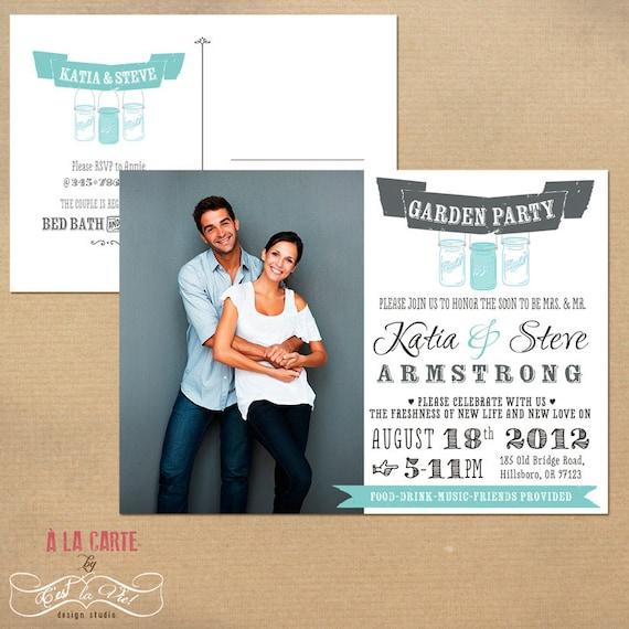 Garden Party Couples Wedding Shower Invitation Postcard - Vintage Mason Jars Party