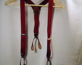 Vintage Maroon Elastic Button On Suspenders with Brown Leather Waist Fasteners