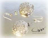 Beautiful Solid Silver Round Aztec Sun Dropper Earrings - Symbol of the Divine and Everlasting Life