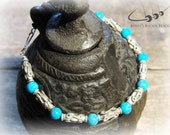 Mens Beaded Bracelet, Blue Turquoise Interlaced with Silver Bali Beads, Natural Stone, Handmade Mens Jewelry - The Holy Stone