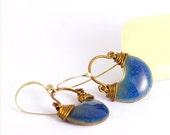 Dark blue enamel earrings - Demeter, medium