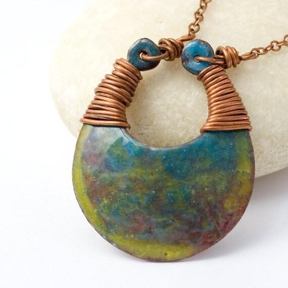 Enamel pendant, yellow, blue enamel necklace