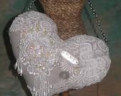 Elegant Heart,  Victorian Heart, Edwardian Heart, Heart Fiber Art Hanging, Crazy Quilt Heart