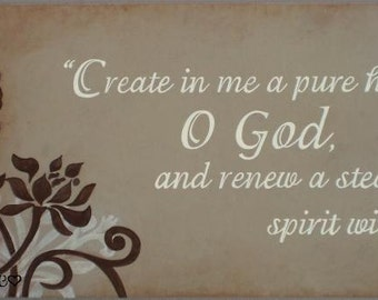 """Psalm 51:10 Sign, Create in me a pure heart, Scripture Sign 24"""" x 10"""" SIgnsbyDenise"""