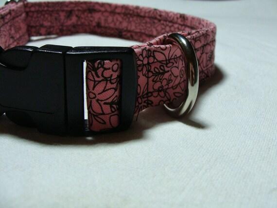 Pink flower design adjustable dog collar