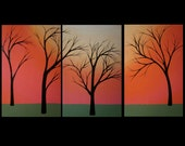 "original acrylic painting, abstract landscape tree painting, triptych, pink, black, green, sunset, 33"" X 14"""