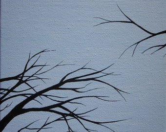 """Abstract tree painting:  """"Branches Reach for the Sky, an original landscape on stretched canvas by K.E.Gilmore"""
