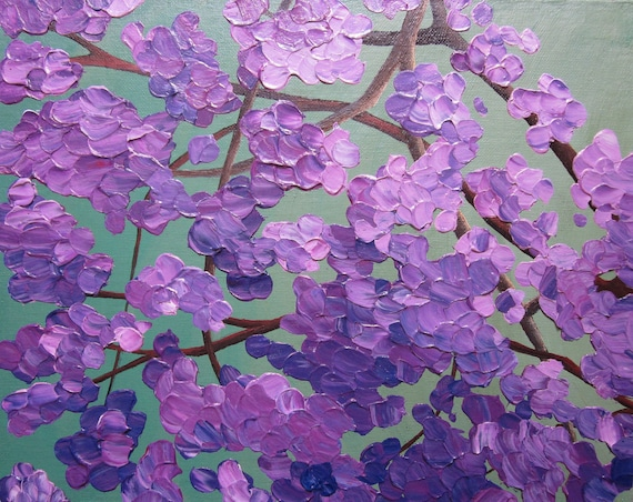 flowering tree painting, acrylic abstract floral, 11X14 knife painting, purple, green, original, canvas