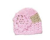 Crochet Baby Flower Hat, Baby Girl Pink Hat, Cute Baby Beanie, Infant Girl Cap, Pink Flower Hat, Crochet Flower Hat, Spring Baby Hat