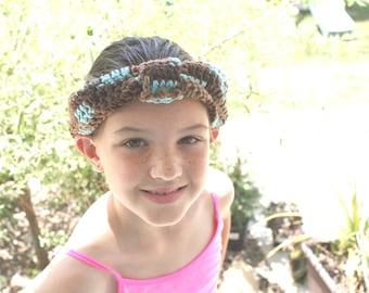 Knotted Headband, Dressy Fashion Turban Style Headband, Designer Ear Warmers, Brown Ear Warmers, Yoga Headband, Crochet Headband
