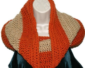 Womens Crochet Scarf, Orange Cowl, Fashion Neck warmer, Elegant Loop Scarf, Womens Crochet Cowl, Cowl Scarf, Orange Circle Scarf