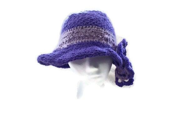 Womens Crochet Purple Flower Dress Fashion Hat Orchid Cloche Church Hat, Womens dress Hat, Derby Hat, Ladies Fashion Hat, Church Hat