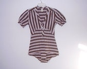 Reserved For Misty Baronet Body Suit Lingerie Brown Striped High Waisted Body Suit