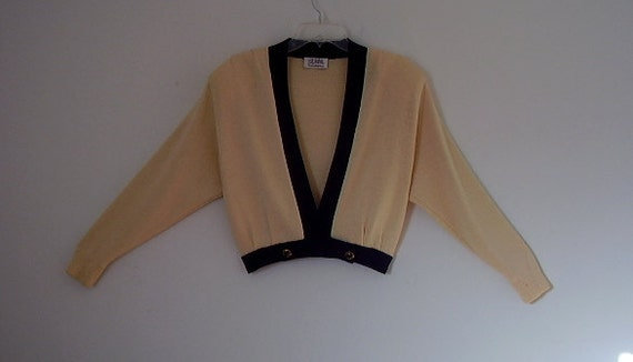 SALE St John Yellow and Navy Blue Knit Sweater for Saks Fifth Ave