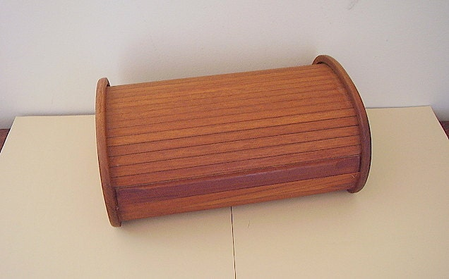 Teak Jewelry Box With Tambour Roll Top Lid By Kalmar Designs