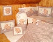 Beige Crib Bedding Set,  Elephant  Quilt  Collection, Baby Shower Gift HET