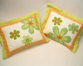 FLOWER Quilted  Pillows   -green-orange-